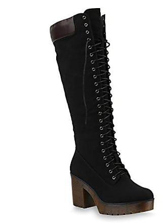 e98c1aaff47e2 Stiefelparadies Damen Stiefel Plateau Boots Schnürstiefel Profilsohle Schuhe  145384 Schwarz 36 Flandell