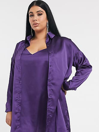 Missguided co-ord satin shirt dress in purple