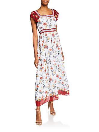 9c4e580e7b4 Max Studio Floral-Print Flutter-Sleeve Georgette Maxi Dress w  Contrast Trim