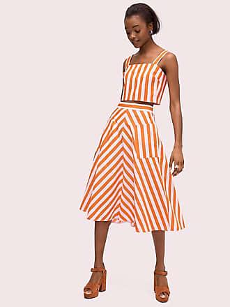57ba679d2353b6 Kate Spade New York Deck Stripe Midi Skirt, Mirage Pink/Traffic Orange -  Size