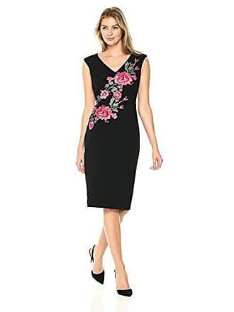 Ivanka Trump Womens Embroidered Compression Dress, Black/red 10