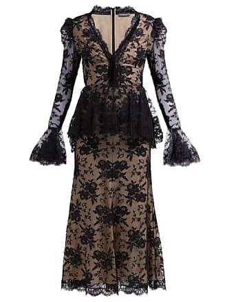 e5b591d45b90 Alexander McQueen Alexander Mcqueen - Sarabande Lace V Neck Peplum Dress -  Womens - Black
