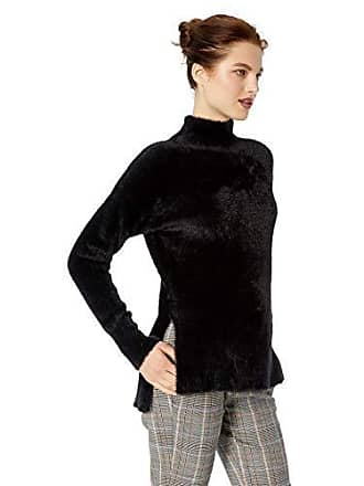 7e1bdf116fc34a French Connection Womens Fuzzy Long Sleeve Pullover Knit Sweater, Black, L