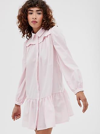 a2e2189917 Asos Robe chemise courte en coton style western avec ourlet à basque - Rose