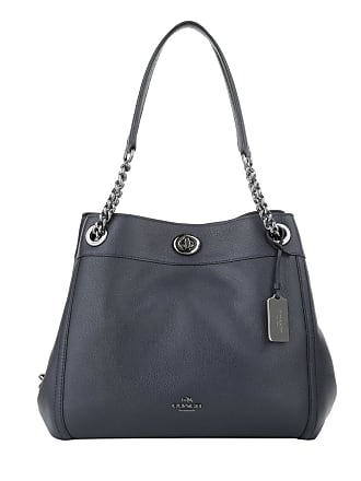 9f2222f38 Coach Satchel Bags - Polished Leather Turnlock Edie Shoulder Bag Navy -  blue - Satchel Bags