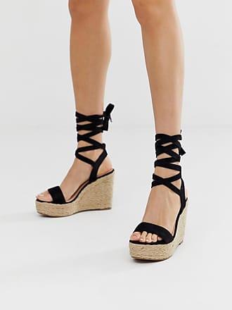 Glamorous Espadrilles nere con zeppa e allacciatura alla caviglia-Nero