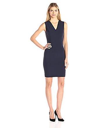90d97d8279265 Elie Tahari Womens Gwenyth Seasonless Wool V-Neck Sheath Dress, Navy, 2