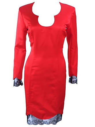 f9ad5d7bb5e 1stdibs Ted Heyman Red Silk Cocktail Dress With Lace Trim Size 8
