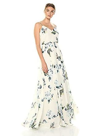 8908f67a99d9 Jenny Yoo Womens Inesse Thin Strap V Neck Long Floral Chiffon Gown, Soft  sage Blue