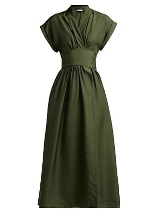 Three Graces London Clarissa Silk Satin Wrap Dress - Womens - Dark Green