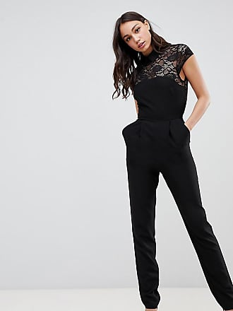 36f5ac4d2aa Asos Tall ASOS DESIGN Tall Lace Top Jumpsuit with Collar