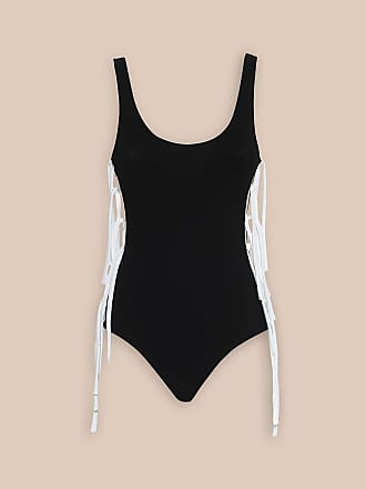 L'autre Chose ONE-PIECE SWIMSUIT IN BLACK WITH WHITE TIES