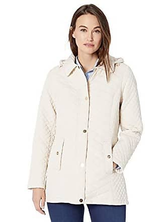 Jones New York Womens Hooded Midweight Quilted Jacket, White Sand, M