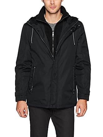 Kenneth Cole Reaction Mens Bonded Midweight Jacket with Fleece Bib, Black, Large