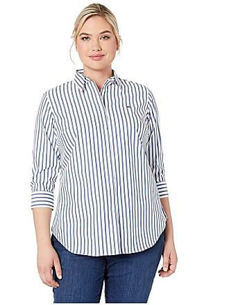89a1a2563 Ralph Lauren Plus Size No-Iron Striped Button Down Shirt (White/Blue Multi