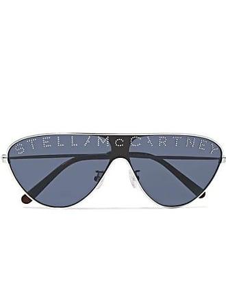 038f5ecf9206 Stella McCartney Aviator-style Crystal-embellished Silver-tone And Acetate  Sunglasses - Dark