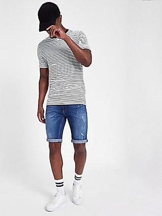 River Island Mens Mid blue distressed Sid skinny denim shorts