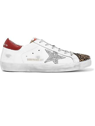 8bdda5d4c006 Golden Goose Superstar Glittered Distressed Leather And Leopard-print  Calf-hair Sneakers - White