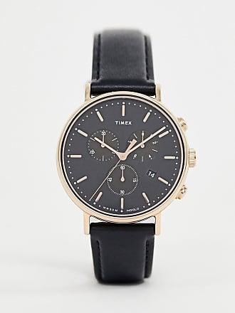 16ad8a4a76e8 Timex Reloj de 41 mm en cuero negro con cronómetro Fairfield de Timex