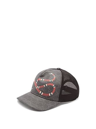 c712a1a82 Gucci Gg Supreme And Kingsnake Print Mesh Cap - Mens - Black