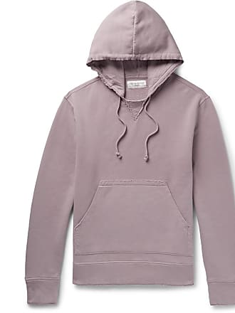 Officine Generale Distressed Fleece-back Cotton-jersey Hoodie - Lilac