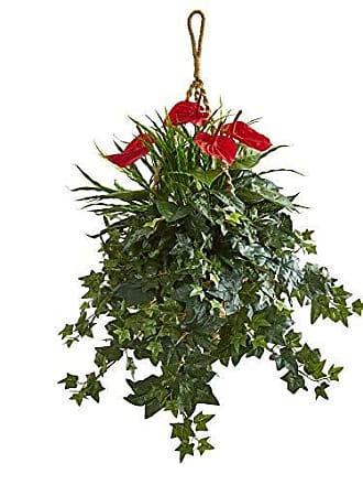 Nearly Natural 8397 31-in. Mixed Anthurium Artificial Hanging Basket Silk Plants Green