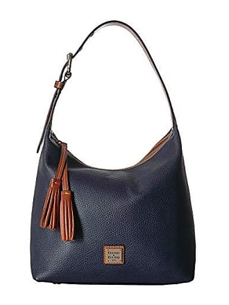 Dooney & Bourke Pebble Paige Sac (Midnight Blue/Tan Trim) Handbags