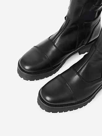 5474ce0c05dd2 The Kooples Boots montantes en cuir esprit biker à languette oversize et  boucles