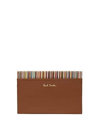 Paul Smith Signature Stripe Leather Cardholder - Mens - Brown