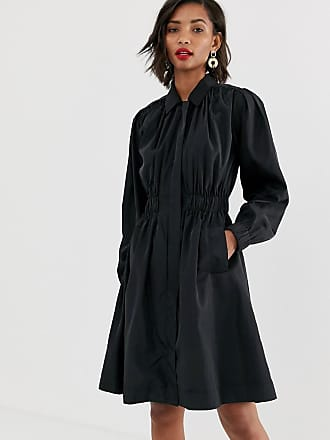 Y.A.S premium ruched detail trench coat in black - Black