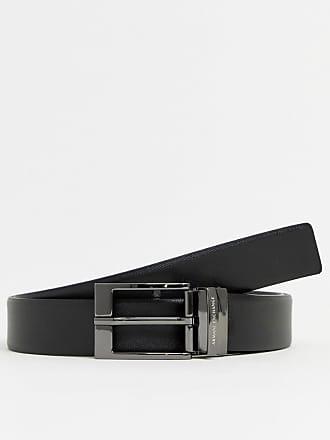 384de902b64a36 Armani Cintura in pelle double-face nera e mattone scuro con passante con  logo -
