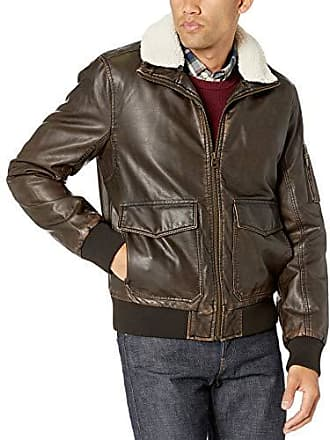Dockers Mens Maverick Faux Leather Sherpa Collar Aviator Bomber Jacket, Dark Brown, Medium