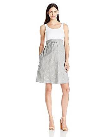 94ef5e2645fbc Maternal America Womens Maternity Empire Cotton Dress, White/Seersucker, X- Small