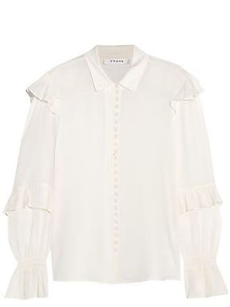 59ab0b26941f0 Frame Denim Frame Woman Ruffle-trimmed Silk-georgette Blouse Off-white Size  XS