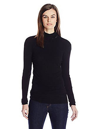 Only Hearts Womens Tulle Long Sleeve Pearled Neck 1 Ply, Black ML