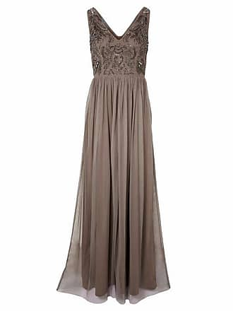 Heine Damen Abendkleid mit Pailletten, beige, Gr. 34, heine TIMELESS,  Material 48e2576f13