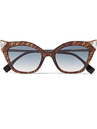 dccacf6a77b67 Fendi Crystal-embellished Cat-eye Printed Tortoiseshell Acetate Sunglasses  - one size