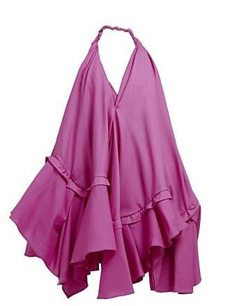 Jacquemus Rosa Asymmetric Ruffle Poplin Mini Dress - Womens - Pink