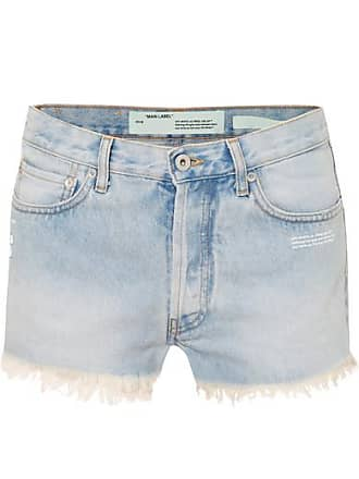 Off-white Distressed Denim Shorts - Light denim