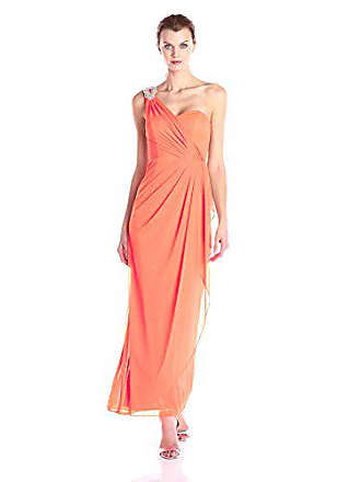 Xscape Womens One Shoulder Long Gown with Embellishment, Shocking Coral, 12