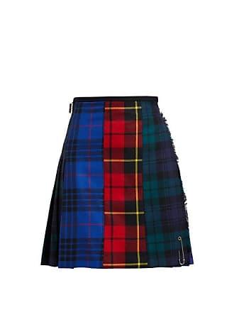 Le Kilt Patchwork 48cm Tartan Wool Kilt - Womens - Blue Multi