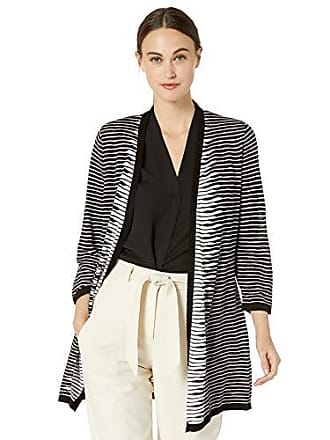 Kasper Womens SLUB Yarn Stripe 3/4 Sleeve Long Cardigan, Black/Lily White, XL