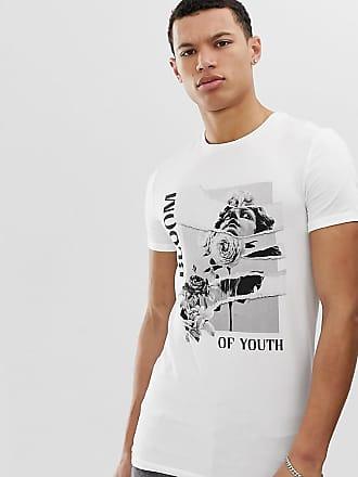 e4e9d0705f Asos Tall - T-shirt attillata con stampa storica e risvolto sulle maniche -  Bianco