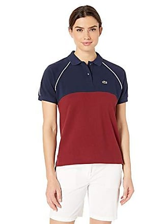 5411bddb8fab Lacoste Womens S/S Relaxed FIT Color Block Polo, Navy Blue/Pinot,