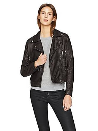 William Rast Womens Leather Washed Bikers Jacket, Black, L
