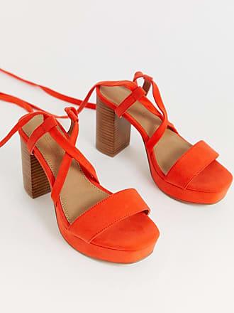 48fcf4786c7 Asos Wide Fit Walker platform block heeled sandals - Red