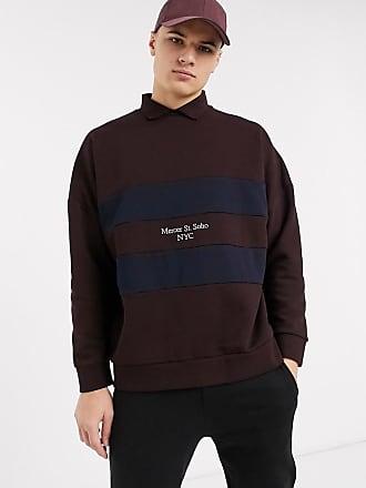 Topman Burgunderrotes Rugby-Sweatshirt mit Farbblockdesign