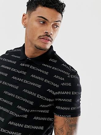 Armani all over text logo polo in black - Black