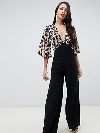 ee1ce5f23229 John Zack Tall Tuta jumpsuit nera con fondo ampio e top maculato a  contrasto - Multicolore