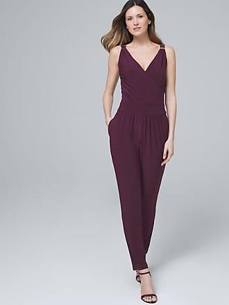 White House Black Market Womens Sleeveless Knit Tapered-Leg Jumpsuit by White House Black Market, Empire Plum, Size XL